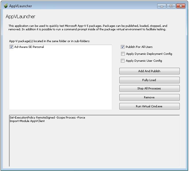 App-V 5 x Application Launcher
