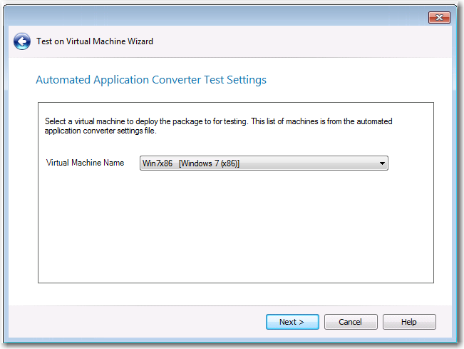 Automated Application Converter Test Settings Panel
