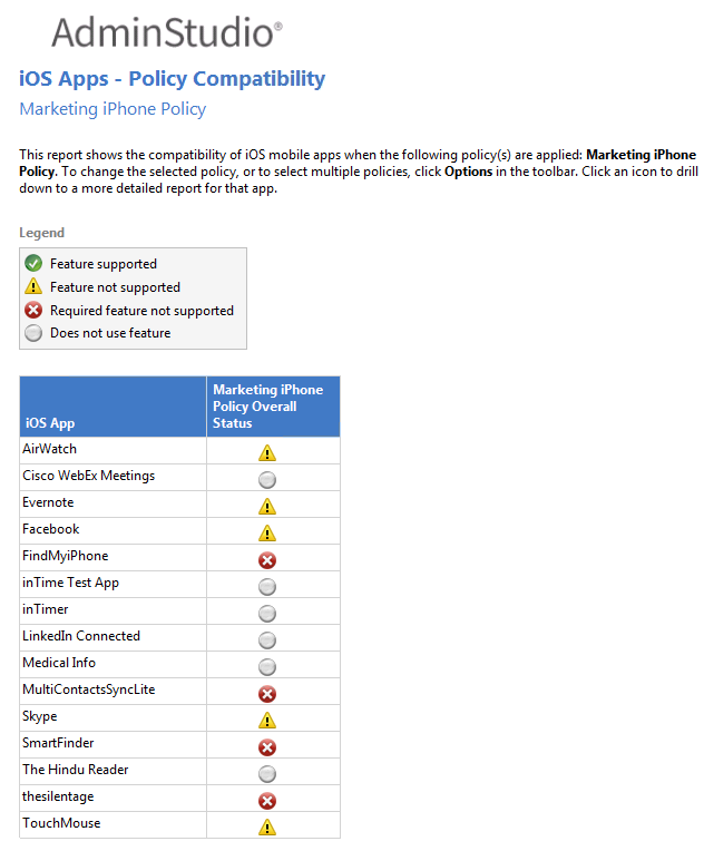 Viewing iOS Enterprise Policy Compatibility Reports