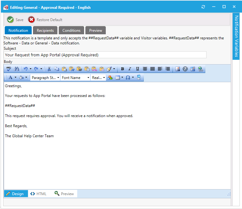 Editing Notification Email Templates And Messages