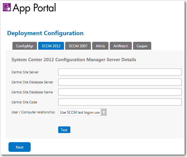 Entering System Center 2012 Configuration Manager Settings